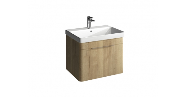 Brooklyn 600mm 1 Drawer Wall Unit Oak with Zen Basin