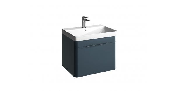 Brooklyn 600mm 1 Drawer Wall Unit Sapphire with Zen Basin
