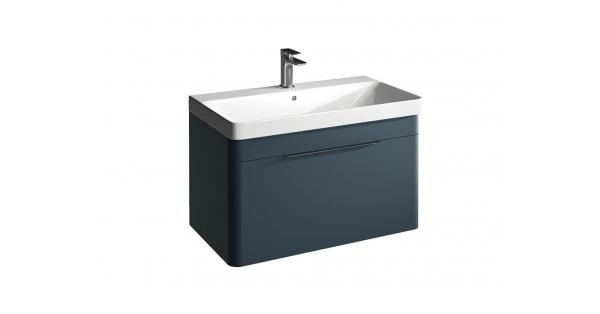 Brooklyn 800mm 1 Drawer Wall Unit Sapphire with Zen Basin