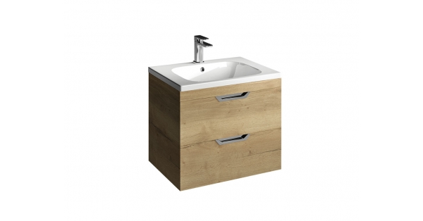 Madison 600mm 2 Drawer Wall Unit Oak with Orca Basin