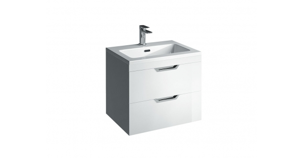 Madison 600mm 2 Drawer Wall Unit White with Lounge Basin