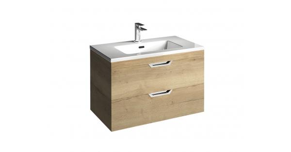 Madison 800mm 2 Drawer Wall Unit Oak with Lounge Basin