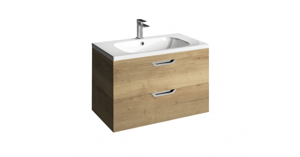 Madison 800mm 2 Drawer Wall Unit Oak with Orca Basin