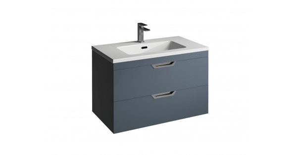Madison 800mm 2 Drawer Wall Unit Sapphire with Lounge Basin