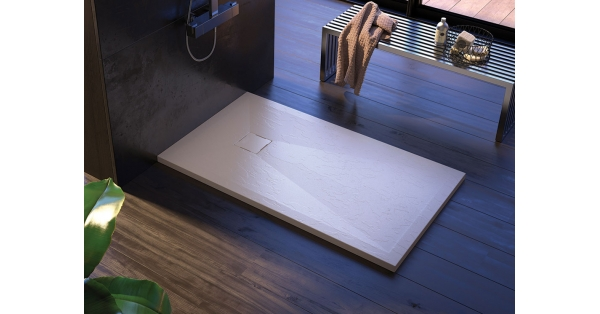 Ibiza Slate Offset Quadrant Showers Tray (White)