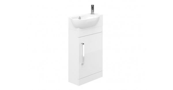 Ravello 400mm 1 Door Floor Unit White with 450mm Zen Basin