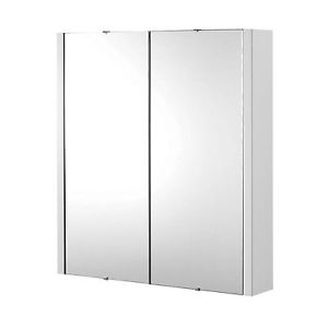Riva 700mm Mirror Cabinet 2 Door White