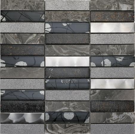 Artist Grey Mosaic Wall Tile 30x30cm