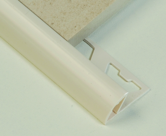 Tile Trim 10mm Round Edge PVC Cream/White