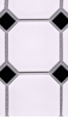Big Octagon White/Black Mix Mosaic
