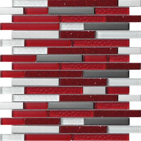 Quartz Red Mosaic Wall Tile 30x30