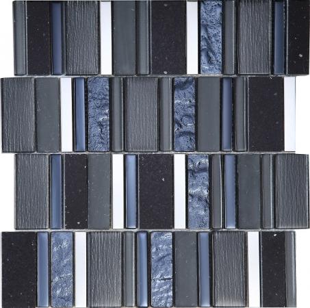 Stripes Carbon Mosaic Tile 30x30
