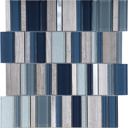 Stripes Cold Mosaic Tile 30x30