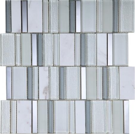 Stripes Snow Mosaic Tile 30x30