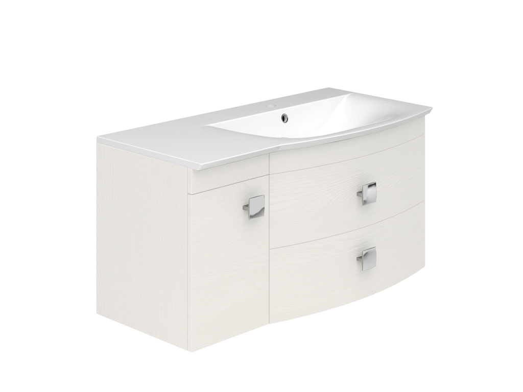Bailey 1000mm 2 drawers cupboard wall hung vanity unit r h for 1000mm kitchen drawer unit